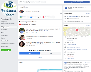 Assistente de Viagem - Página do Facebook