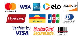 Formas de Pagamento: MasterCard, Visa, Amex, Elo, Discover, Hipercard, Aura, Diners, JCB, MasterCard Secure Code, Verified By Visa e Boleto Bancário